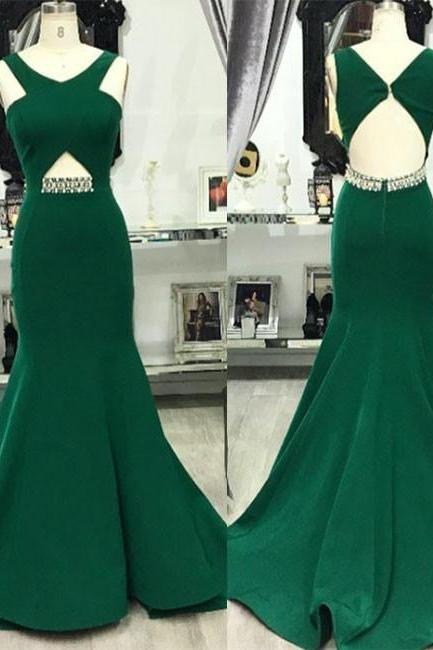 Green V Neck Mermaid Long Prom Evening Dress For Teens ,Prom Dresses, Long Evening Dress