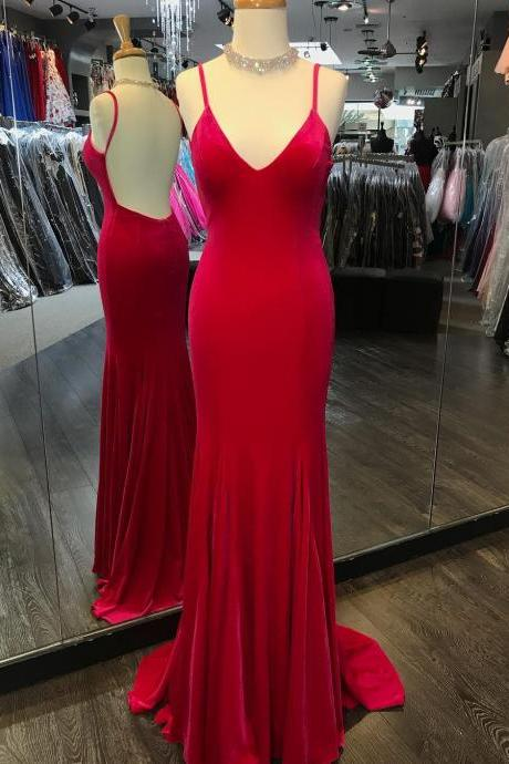 Sexy Backless Prom Dresses, Long Spaghetti Straps Evening Party Dress,Prom Dresses, Long Evening Dress
