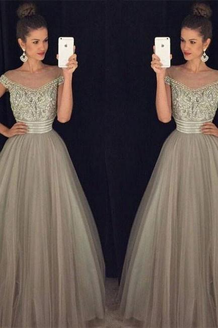 Unique Off Shoulder Sequin Gray Tulle Long Prom Dress, Evening Dress,Charming Simple Prom Dress,Evening Dress,Full Length Prom Dress