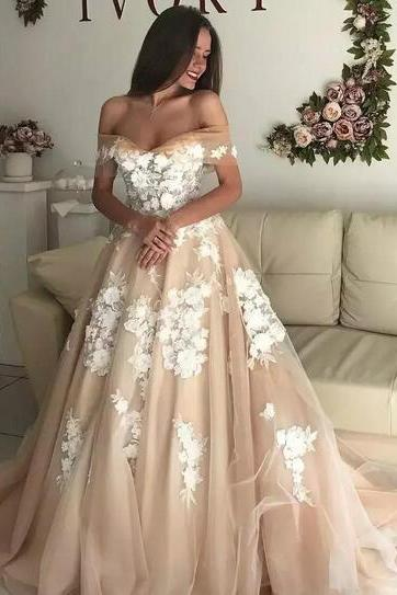 Charming Wedding Dress,Off the Shoulder Evening Dresses,Appliques Prom Dresses,Ball Gown Prom Gown