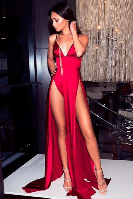 Sexy Red Spaghetti Strap Long Prom Dress with Splits,Red Evening Dress,Red V-Neck Party Dress,Evening Dresses,V-Neck Prom Dresses,Bakless Prom Gown