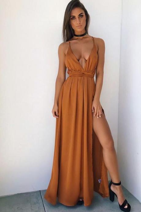 Gold Maxi Dress with Slit A-Line Chiffon Prom Dresses