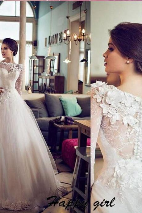 Wedding Dress, Beautiful Wedding Dress, Long Sleeve Wedding Dress, Lace Wedding Dress, Ball Gown Wedding Dresses, Formal Wedding Dress, Tulle Wedding Dress, Floor Length Wedding Dress, Applique Wedding Dress, Bridal Gowns