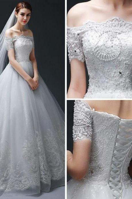 Wedding Dress, Lace Appliques Wedding Dresses,Beaded Embellished Wedding Dress,Off-The-Shoulder Floor Length Tulle Wedding Gown ,Featuring Lace-Up Back and Chapel Train, Bridal Gowns
