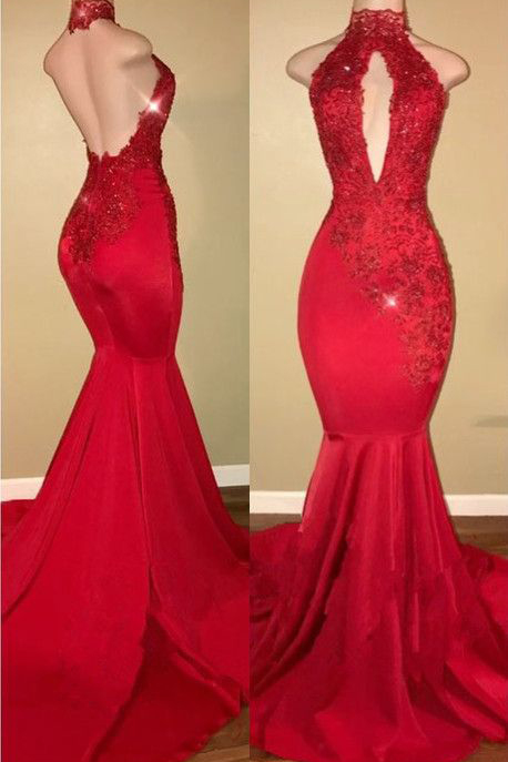 Sexy Prom Dress,Halter Prom Gown,Mermaid Prom Dress,Prom Dress,Lace Appliques Prom Dresses,Red Prom Dress
