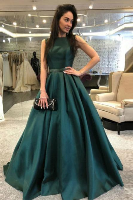 A-Line Prom Dress,Backless Prom Dresses,Dark Green Prom Dress with Beading,Satin Prom Gown,Long Prom Dresses