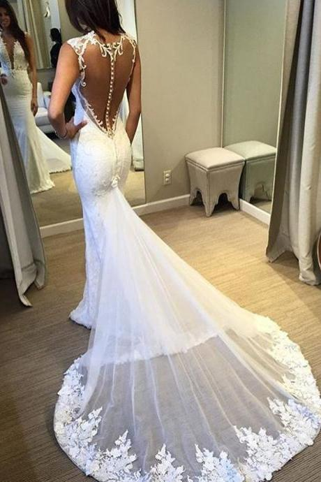 Mermaid Appliqued Lace Wedding Dress Fashion Sexy See Through Back Wedding Dresses Bridal Dresses