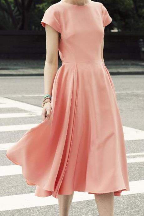 Minimal Skater Midi Dress Featuring Crew Neck, and Short Sleeves,Satin Prom Gown,Long Prom Dresses