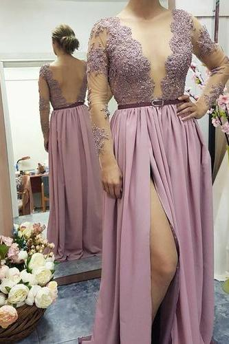 Lace Appliqed Prom Dress,See-through Bodice Prom Dresses,Long Sleeves Prom Dresses with Slit,,Fashion Prom Dress,Sexy Party Dress,Custom Made Evening Dress