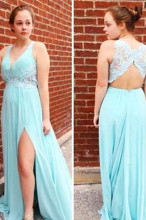 Chiffon Lace Appliqued Prom Dress,Open Back Formal Dress with Slit,Fashion Prom Dress,Sexy Party Dress,Custom Made Evening Dress