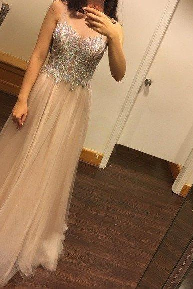 Gorgeous Rhinestone Prom Dress,Beaded Top Long Prom Dress,A-line Sheer Tulle Prom Dresses,Fashion Prom Dress,Sexy Party Dress,Custom Made Evening Dress