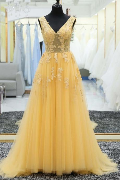 Yellow tulle lace Prom Dress,applique V-neck long prom dress,Fashion Prom Dress,Sexy Party Dress,Custom Made Evening Dress