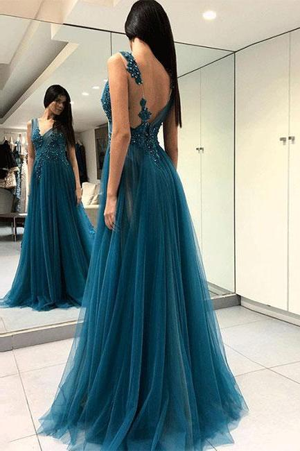 Noble Prom Dress,Tulle Evening Dresses,Appliques Prom Dresses,V-Neck Prom Gown