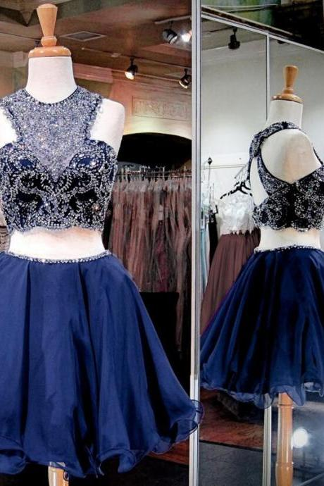 Two Parts Short Homecoming Dress,Chiffon Homecoming Dresses ,Crystals Women Party dresses