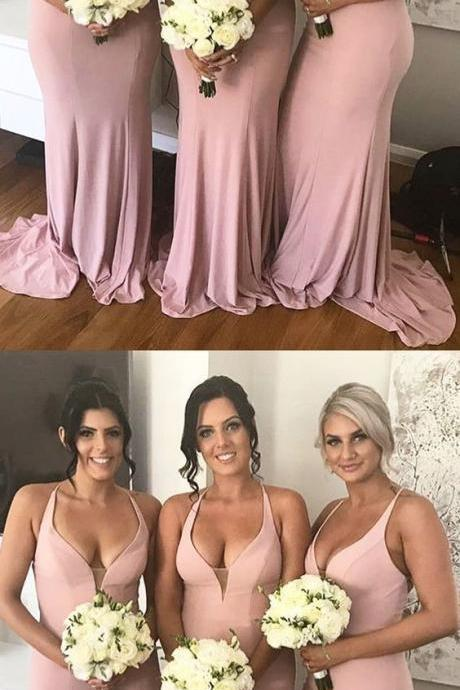 pink long bridesmaid dress, v neck mermaid bridesmaid dresses, wedding party dress,Evening Dresses ,Formal Dresses,Slit Side Evening Dress
