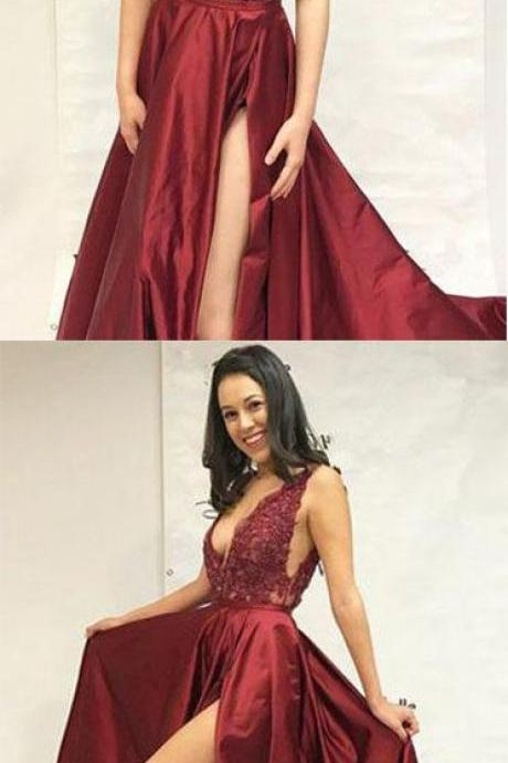 Simple A-Line Deep V-Neck Prom Dress,Sweep Train Split Burgundy Satin Lace Prom Dresses,Long Prom Dress,Party Dresses, Evening Dresses ,Formal Dresses