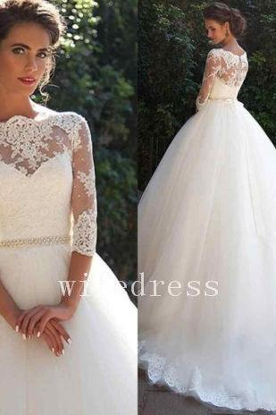 White/Ivory Wedding Dress Bridal Gown 3/4 Sleeve Size,Tulle Lace Wedding Dresses,Applique Long Bridal Dress