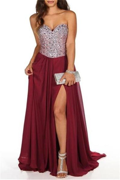 Burgundy Chiffon Prom Dresses,Sparkly Sweetheart Side Slit Prom Dress ,Party Dress , Cocktail Dresses,Prom Dresses, Long Evening Dress