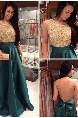 Backless long prom dresses, gentle lace party dress, green stain evening dress,Long Prom Dresses Party Gowns
