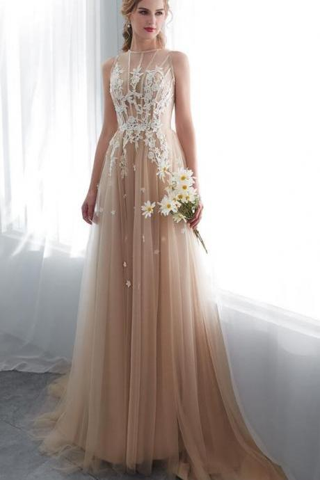 Champagne Prom Dresses, Walk Beside You O-neck Prom Dress,Transparent Lace Applique Prom Dress,A-line Sleeveless Prom Dresses,Sweep Train Long Party Evening Gowns