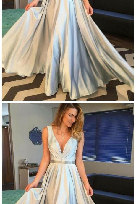 Simple A-Line V-Neck Sleeveless Long Prom Dress Evening Dress