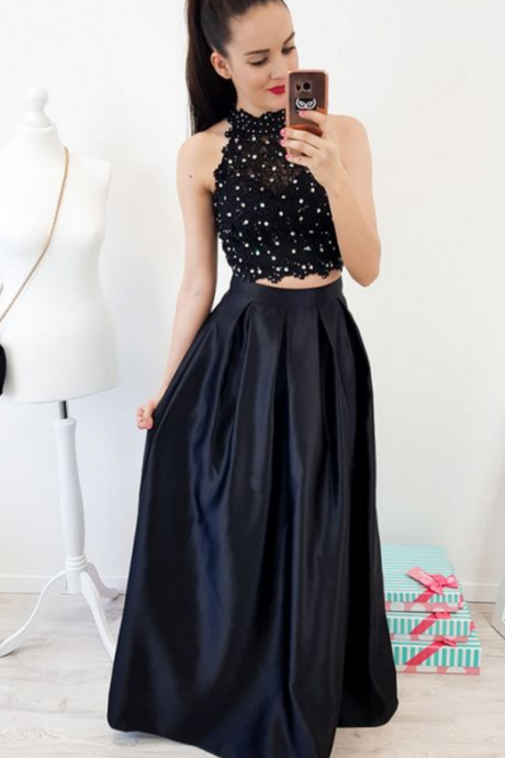 Two Piece Jewel Floor-Length Black Lace Bodice Prom Dress with Beading