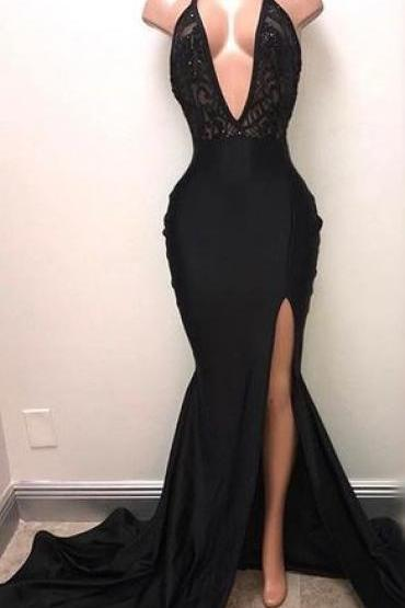 Black Pluning Neck Halter Prom Dress with Side Split