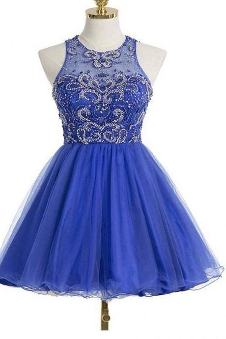 Open Back Short Royal Blue Party Dresses,Beaded Graduation Dress
