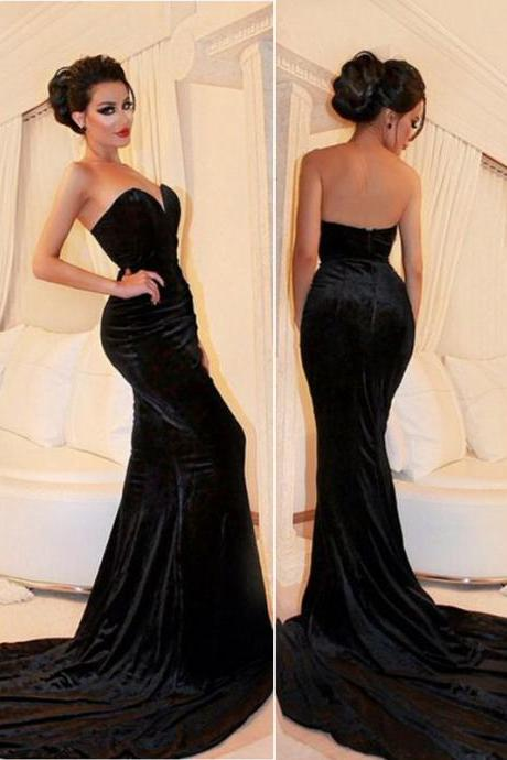 Sleeveless Black Velvet Prom Dress Formal Occasion Dress Evening Gown