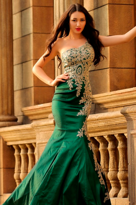 One-Shoulder Lace Appliques Green Mermaid Evening Dresses Sexy Prom Party Gown