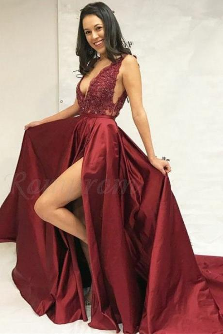 Two Pieces Prom Dress with Slit, Prom Dresses