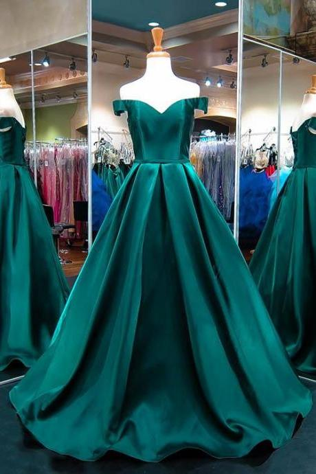 Off the Shoulder Emerald Green Evening Dress, Prom Dress,Evening Gown,Floor Length Long Prom Dresses