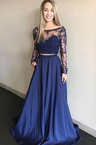 Royal Blue Two Pieces Prom Dress with Long Sleeves Crop Top,Prom Dress,Evening Gown,Floor Length Long Prom Dresses