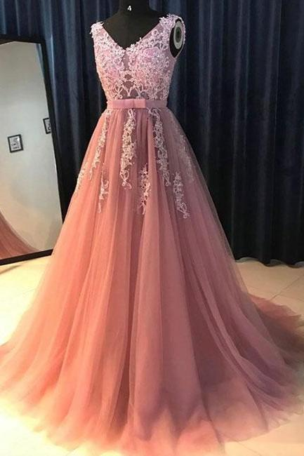 Pink v neck lace tulle long prom dress, evening dress,Evening Gown,Floor Length Long Prom Dresses