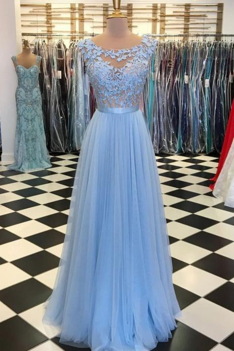 Bule Long Prom Dress,Prom Dresses,Evening Gown,Floor Length Long Prom Dresses