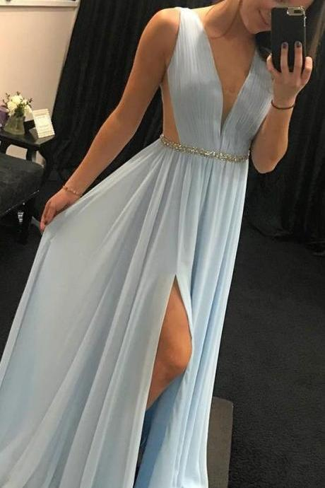 light sky blue long prom dresses, elegant v neck chiffon long prom dress with side slit, party dress