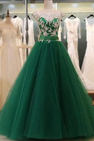 Cap Sleeves Dark Green Prom Dress with Lace,Prom Dresses,Evening Gown,Floor Length Long Prom Dresses