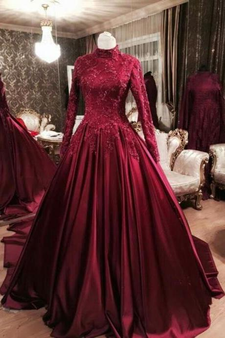 Modest Ball Gown Formal Occasion Dress with Long Sleeves, Long Prom Dress,Prom Dresses,Evening Gown,Floor Length Long Prom Dresses