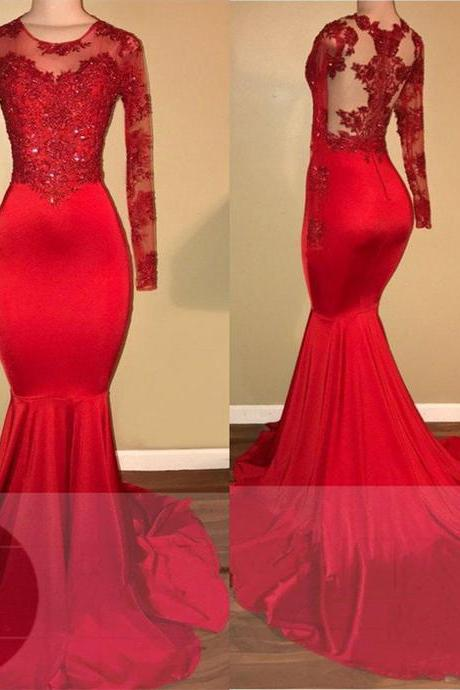 Long Sleeves Red Mermaid Prom Dress with Appliques , Long Prom Dress,Prom Dresses,Evening Gown,Floor Length Long Prom Dresses