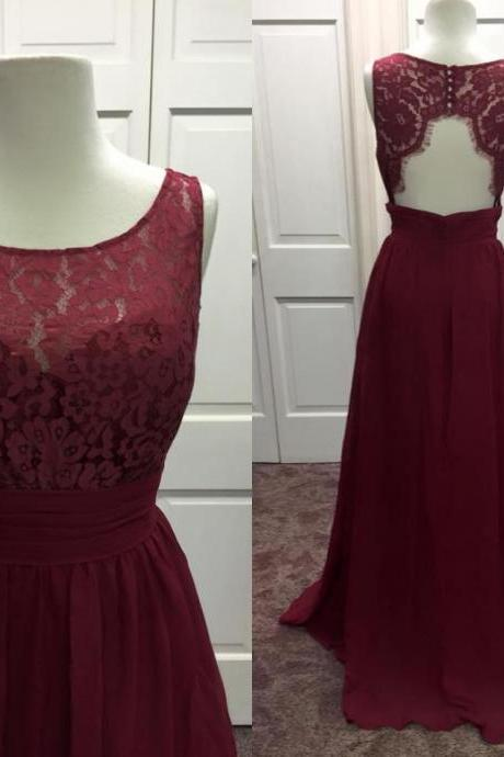 Sheer Neck Long Chiffon Lace Prom Dress with Keyhole Back, Long Prom Dress,Prom Dresses,Evening Gown,Floor Length Long Prom Dresses