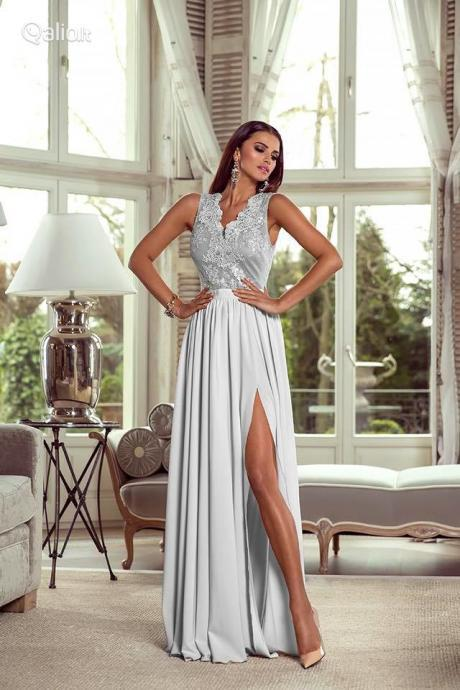 Chiffon Lace Evening Dress with Slit, Long Prom Dress,Prom Dresses,Evening Gown,Floor Length Long Prom Dresses
