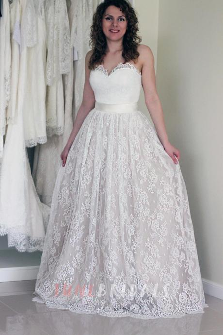 Sleeveless Lace Over Satin Wedding Dress,Wedding Dresses