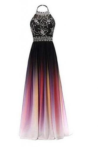 Women's Gradient Halter Long A-Line Prom Gown Ombre Chiffon Backless Evening Dresses,Formal long prom dresses for women, elegant sexy evening dresses, beading cocktail party dresses