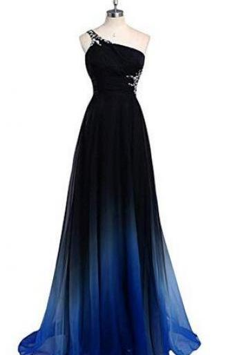 Women's Gradient blue Long A-Line Prom Gown Ombre Chiffon Backless Evening Dresses,Formal long prom dresses for women, elegant sexy evening dresses, beading cocktail party dresses