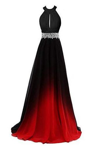 Women's Gradient b;ack & red Long A-Line Prom Gown Ombre Chiffon Backless Evening Dresses,Formal long prom dresses for women, elegant sexy evening dresses, beading cocktail party dresses