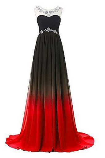 Women's Gradient black & red Long A-Line Prom Gown Ombre Chiffon Backless Evening Dresses,Formal long prom dresses for women, elegant sexy evening dresses, beading cocktail party dresses