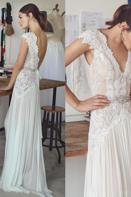 V Neck Ivory Boho Wedding Dress with Lace Beads ,Lace Wedding Dresses,Bridal Gowns,A-line Wedding Dresses