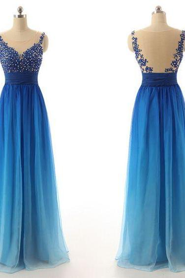O-Neck Prom Dress,Noble Prom Dress,Chiffon Prom Dress,Gradient color Evening Dress