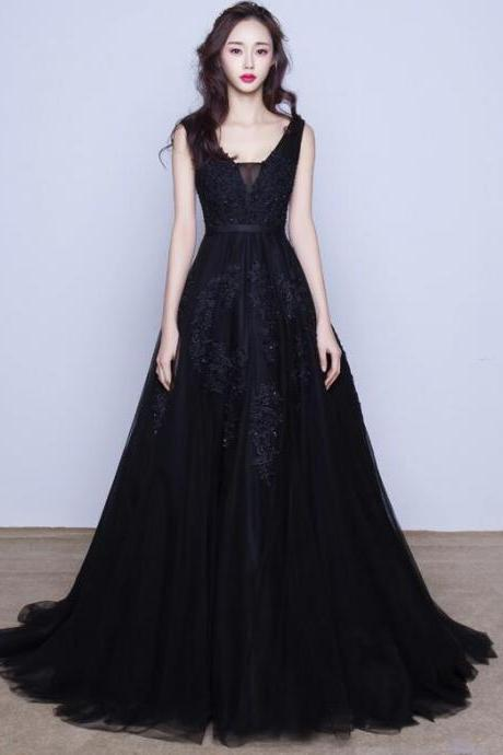 Sexy Black Tulle Lace Applique Prom Dresses,Backless A-line Long Evening Gowns, Lace Appliques Women Evening Dress,Long Prom Dress
