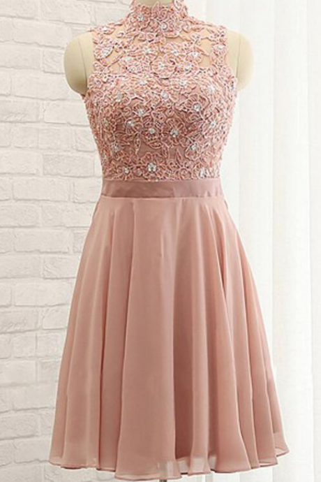 Chiffon Homecoming Dresses,High Neck Prom Dresses,Sleeveless Homecoming Dress,Stylish Homecoming Dresses,A-Line Homecoming Dress